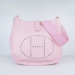 Hermes Handbags Evelyne III Pink Cowskin Leather Silver Hardware Bag