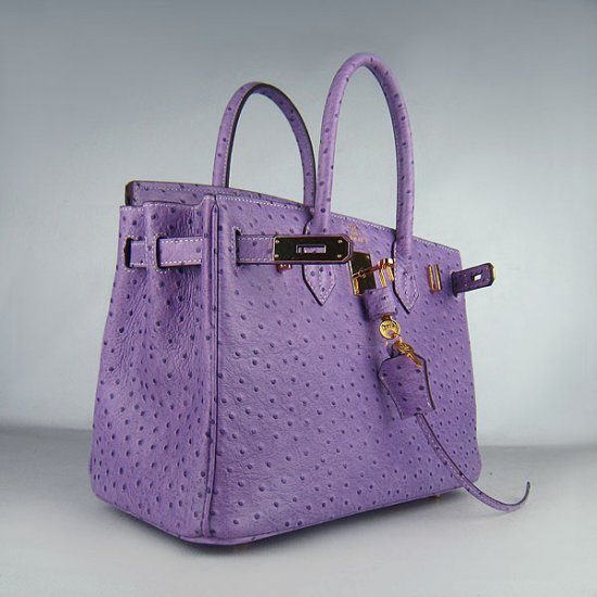 Hermes Handbags Birkin 30 CM Purple Ostrich Stripe Bag - Click Image to Close