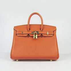 Hermes Handbags Birkin 25 CM Orange Lichee Pattern Bag