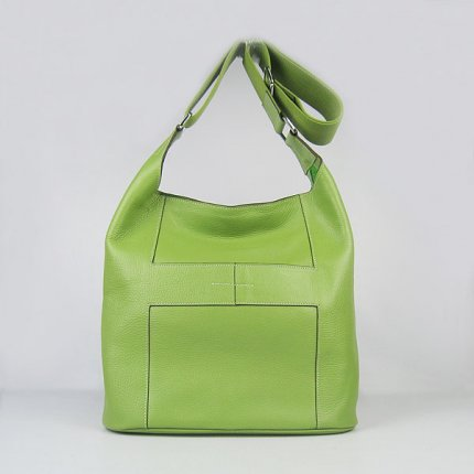 Hermes Handbags Picotin H2801 Green Cowskin Leather Silver Hardware Bag