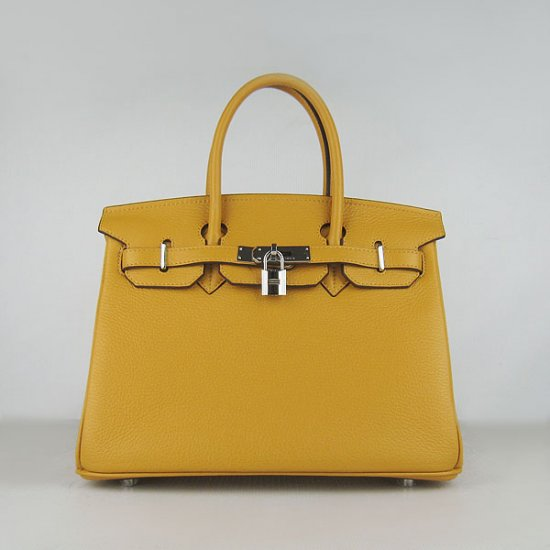 Hermes Handbags Birkin 30 CM Yellow Lichee Pattern Bag - Click Image to Close