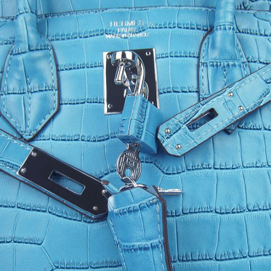 Hermes Handbags Birkin 30 CM Blue Crocodile Bag - Click Image to Close