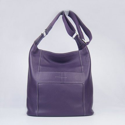 Hermes Handbags Picotin H2801 Purple Cowskin Leather Silver Hardware Bag