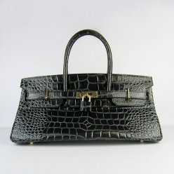 Hermes Handbags Birkin 42 CM Black Togo Crocodile Leather Gold Hardware Bag