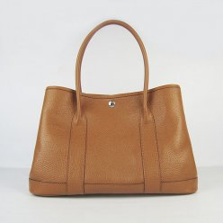 Hermes Handbags Garden Party H2808 Light Brown Cowskin Leather Silver Hardware Bag