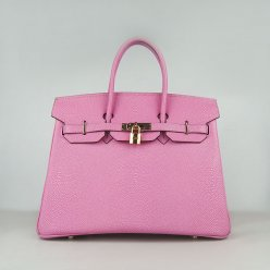 Hermes Handbags Birkin 35CM H6089 Rose Pearl Stripe Leather Gold Hardware Bag