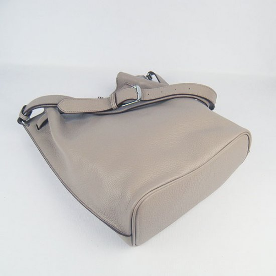 Hermes Handbags Picotin Herpicot 24cm Grey Cowskin Leather Silver Hardware Bag - Click Image to Close