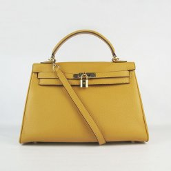Hermes Handbags Kelly 32 CM Yellow Lichee Pattern Leather Gold Hardware Bag