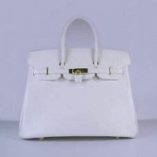 Hermes Handbags Birkin 35 CM White Crocodile Stripe Bag