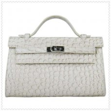 Hermes Handbags Kelly 22CM White Fish Stripe Leather Silver Hardware Bag