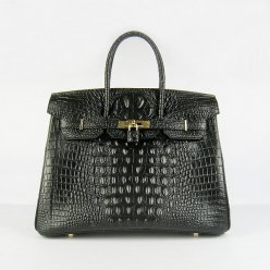 Hermes Handbags Birkin 35 CM Black Crocodile Scalp Bag