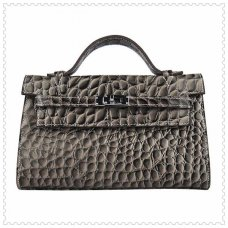 Hermes Handbags Kelly 22CM Grey Fish Stripe Leather Silver Hardware Bag