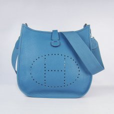 Hermes Handbags Evelyne III Blue Cowskin Leather Silver Hardware Bag