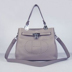 Hermes Handbags Picotin Herpicot Grey Cowskin Leather Silver Hardware Bag