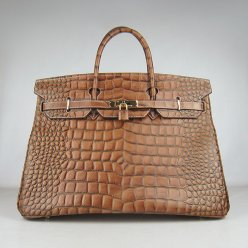 Hermes Handbags Birkin 40CM H6099 Light Brown Crocodile Stripe Leather Gold Hardware Bag