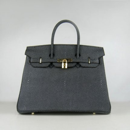 Hermes Handbags Birkin 35CM H6089 Black Pearl Stripe Leather Gold Hardware Bag