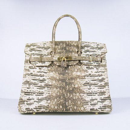 Hermes Handbags Birkin 35CM Off-white Cabrite Stripe Leather Gold Hardware Bag