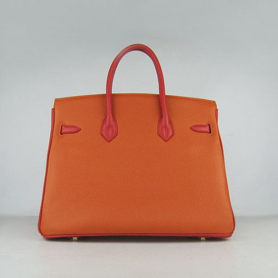 Hermes Handbags Birkin 35 CM Red Orange Green Cow Neck Leather Bag - Click Image to Close