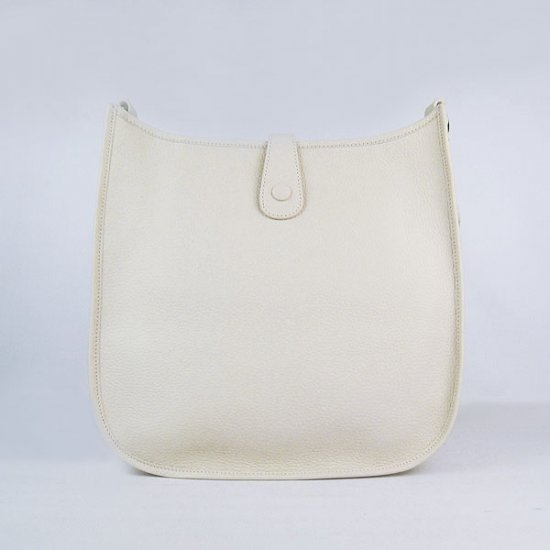 Hermes Handbags Evelyne III Beige Cowskin Leather Silver Hardware Bag - Click Image to Close