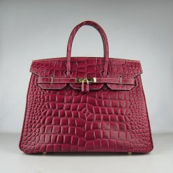 Hermes Handbags Birkin 35 CM Dark Red Crocodile Stripe Bag