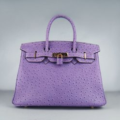 Hermes Handbags Birkin 30 CM Purple Ostrich Stripe Bag