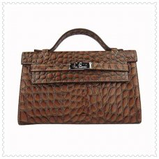 Hermes Handbags Kelly 22CM Dark Brown Fish Stripe Leather Silver Hardware Bag