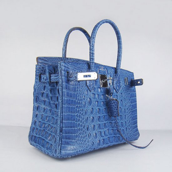 Hermes Handbags Birkin 30 CM Dark Blue Crocodile Scalp Bag - Click Image to Close