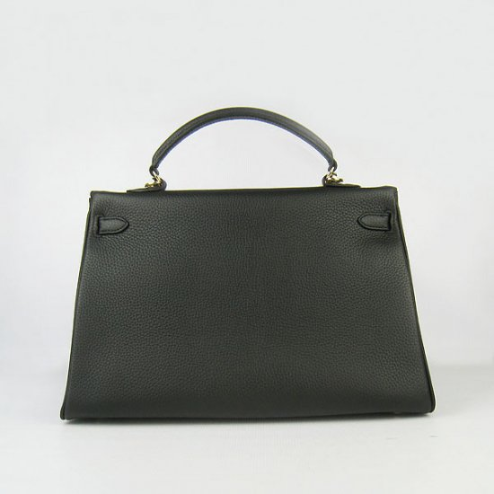 Hermes Handbags Kelly 35 CM Black Cowskin Leather Gold Hardware Bag - Click Image to Close