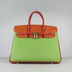 Hermes Handbags Birkin 35 CM Red Orange Green Cow Neck Leather Bag