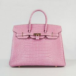 Hermes Handbags Birkin 35 CM Pink Crocodile Bag