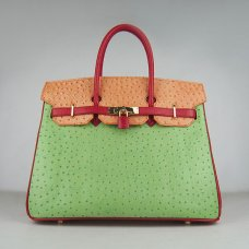 Hermes Handbags Birkin 35 CM Red Orange Green Ostrich Stripe Bag
