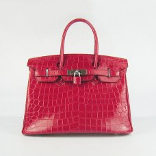 Hermes Handbags Birkin 30 CM Red New Crocodile Veins Bag