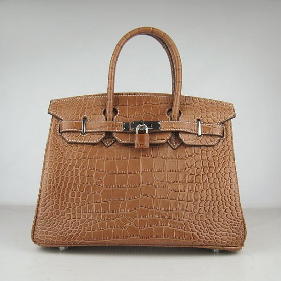 Hermes Handbags Birkin 30 CM Brown Crocodile Bag - Click Image to Close