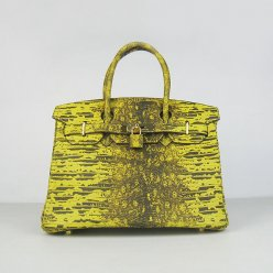 Hermes Handbags Birkin 30 CM Yellow Cabrite Bag
