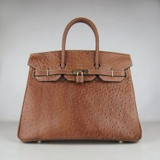 Hermes Handbags Birkin 35 CM Brown Ostrich Stripe Bag