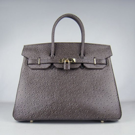 Hermes Handbags Birkin 35 CM Deep Brown Ostrich Stripe Bag - Click Image to Close