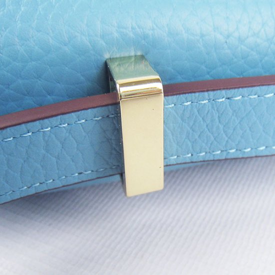 Hermes Handbags Constance Light Blue Cowskin Leather Gold Hardware Bag - Click Image to Close
