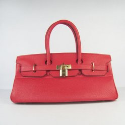 Hermes Handbags Birkin 42 CM Red Cowhide Leather Gold Hardware Bag