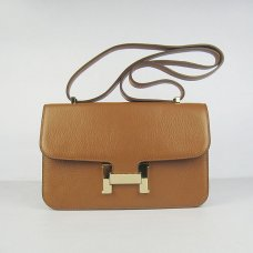 Hermes Handbags Constance Brown Cowskin Leather Gold Hardware Bag