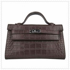 Hermes Handbags Kelly 22CM Chocolate Crocodile Stripe Leather Silver Hardware Bag