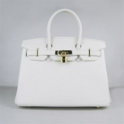 Hermes Handbags Birkin 30 CM White Lichee Pattern Bag