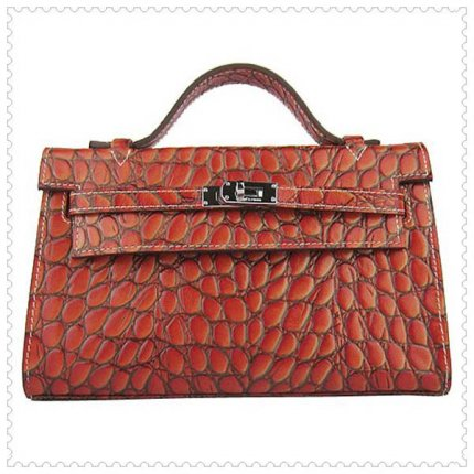 Hermes Handbags Kelly 22CM Orange Fish Stripe Leather Silver Hardware Bag