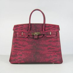 Hermes Handbags Birkin 35CM Red Cabrite Stripe Leather Gold Hardware Bag