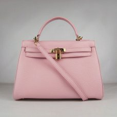 Hermes Handbags Kelly 32 CM Pink Lichee Pattern Leather Gold Hardware Bag