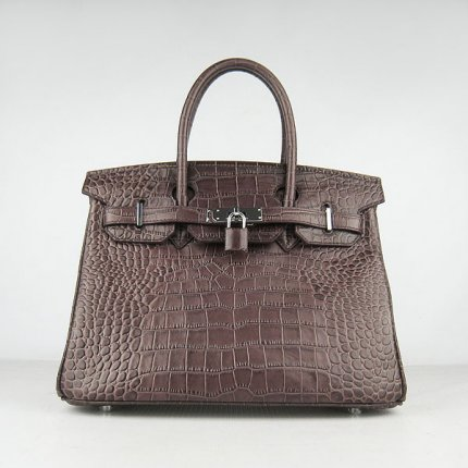 Hermes Handbags Birkin 30 CM Dark Brown Crocodile Bag
