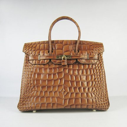 Hermes Handbags Birkin 35 CM Brown Crocodile Stripe Bag