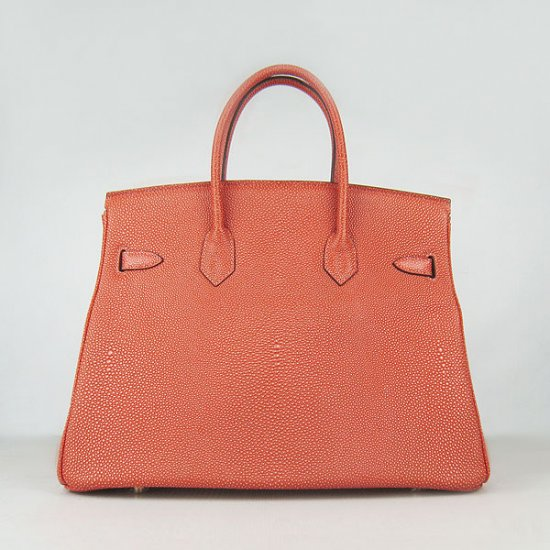 Hermes Handbags Birkin 35CM H6089 Dark Orange Pearl Stripe Leather Gold Hardware Bag - Click Image to Close