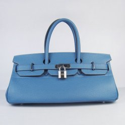 Hermes Handbags Birkin 42 CM Blue Cowhide Leather Silver Hardware Bag