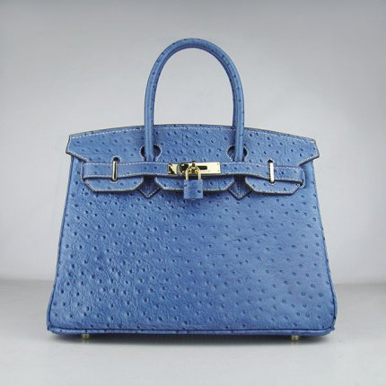 Hermes Handbags Birkin 30 CM Medium Blue Ostrich Stripe Bag