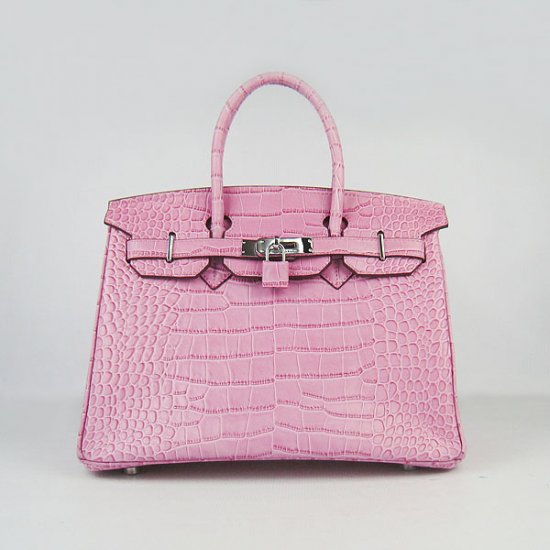 Hermes Handbags Birkin 30 CM Pink Crocodile Bag - Click Image to Close